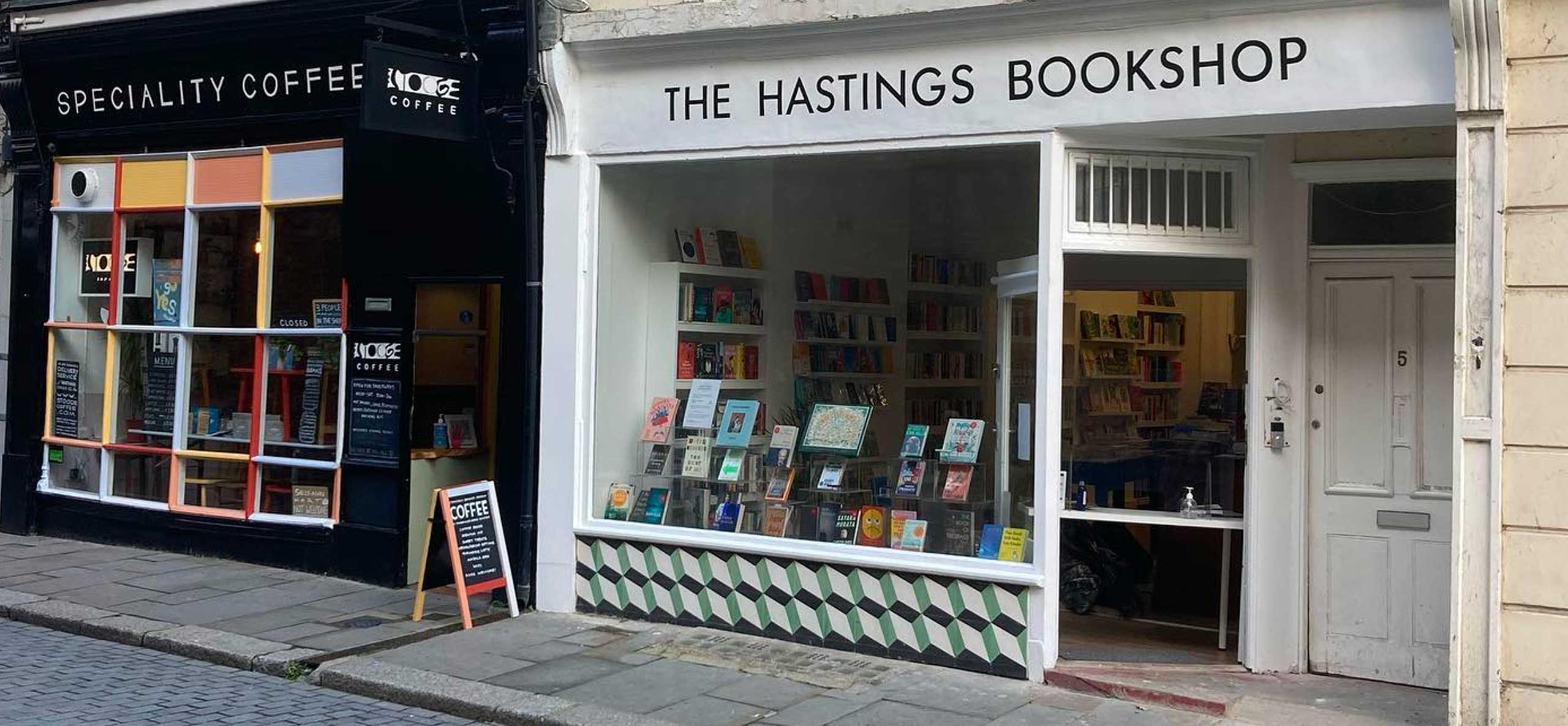 Storefront of Hastings Bookshop